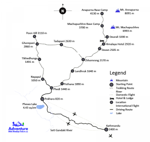 Map - Annapurna Base Camp Trekking