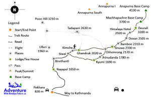 Map - Annapurna Base Camp via Poonhill 13 Days