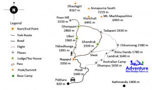 Ghorepani Ghandruk Trekking Trail Map - Adventure White Himalaya Treks