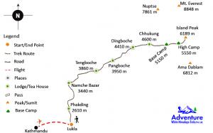 Island Peak Climbing Map - Adventure White Himalaya Treks