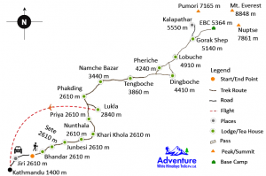 Map of - Jiri to Everest Base Camp Trekking route