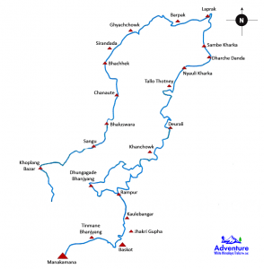 Lower Manaslu Trekking Route Map - Adventure White Himalaya Treks