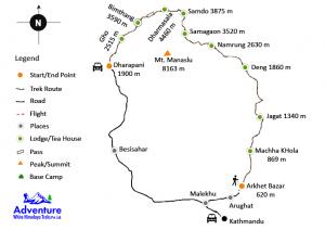 Manaslu Larkya-La Pass Trekking Route Map