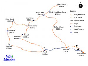 Mardi Himal Trekking Trail map - Adventure White Himalaya Treks