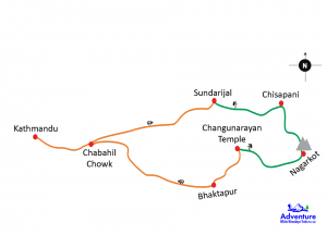 Nagarkot Chisapani Trek Route Map
