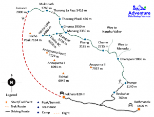 Thorang La Pass Via Tilicho Lake Trekking Map - Adventure White Himalaya Treks