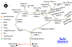 Map - Three High Passes Trekking