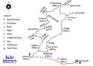 Map - Upper Mustang Trekking