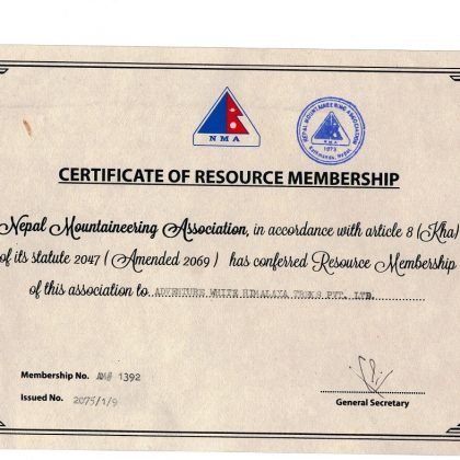 NMA-Member ship-Certificate-legal