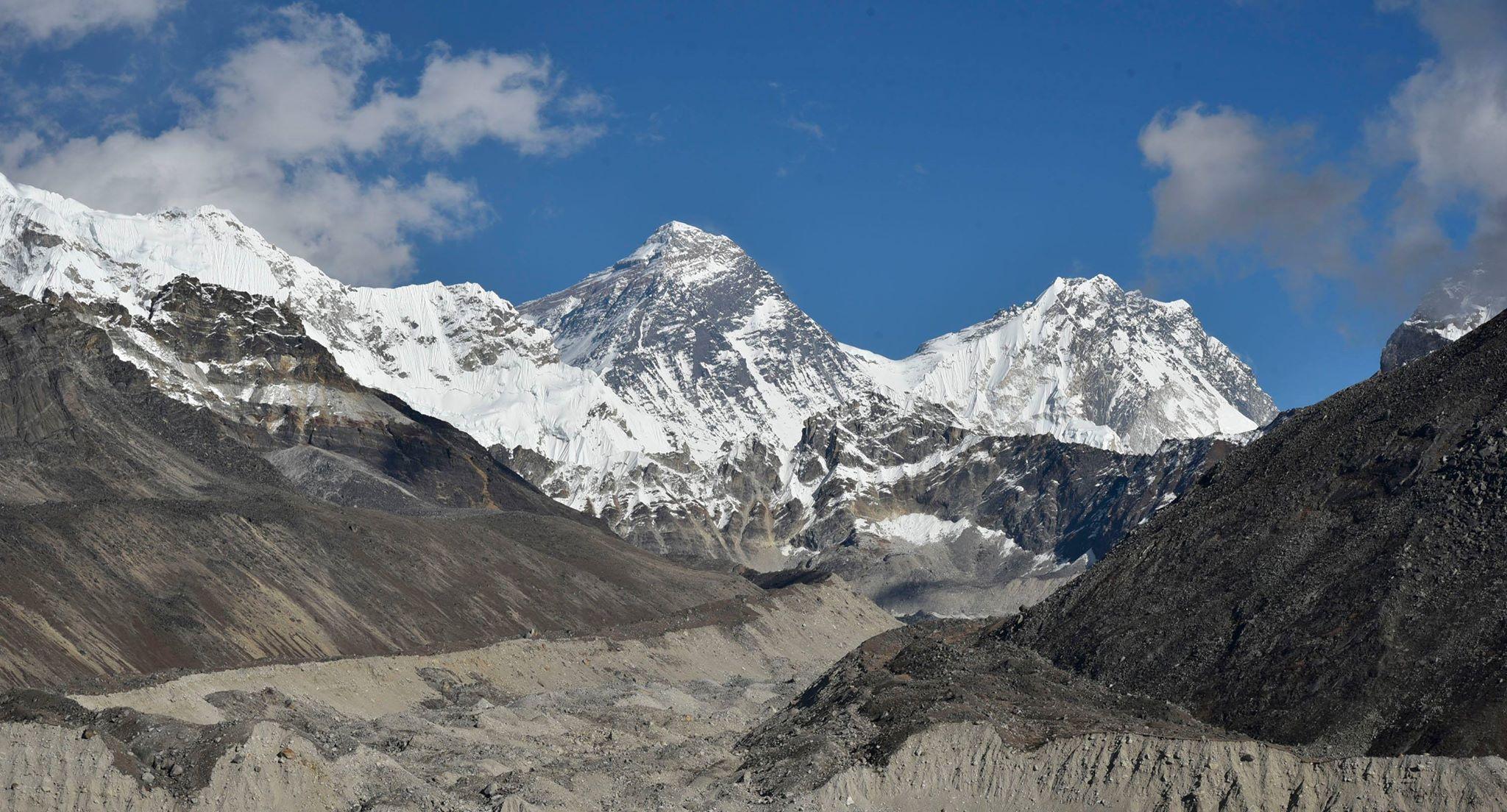 View of Mt. Everest with khumbu Glacier